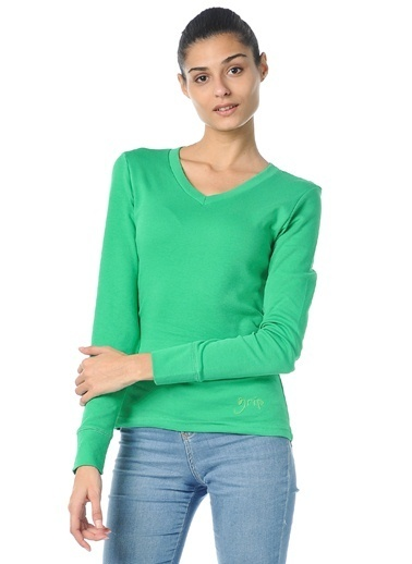 Grip V Yaka Sweatshirt Yeşil